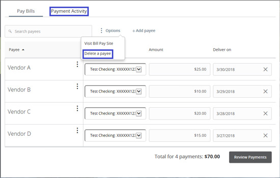 Desktop Consumer Bill Pay Screenshot